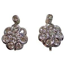 Vintage Estate Mid Century Diamond Floral Earrings 18K