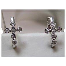 Estate Diamond Cross Huggie Earrings 14K