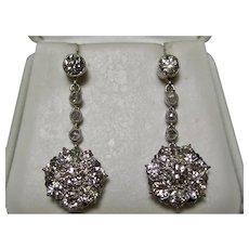 Antique Edwardian Diamond Dangle Cluster Earrings Platinum/14K Gold