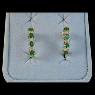 Vintage Estate Emerald & Diamond Wedding Birthstone Earrings 18K