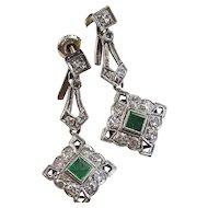 Art Deco Estate 1930's Emerald Diamond  Dangle Wedding Day Birthstone Earrings 14K