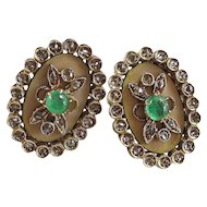 Antique Victorian 1890's Emerald Diamond Wedding Day Birthstone Earrings 18K