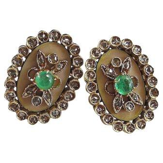 Antique Victorian 1890's Emerald Diamond Wedding Day Birthstone Earrings 18K
