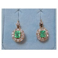Art Deco Wedding Birthstone Anniversary Halo Dangle Emerald & Diamond Estate Earrings 14K Rose Gold