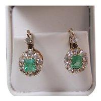Vintage Estate Art Deco Halo Emerald & Diamond Earrings 14K