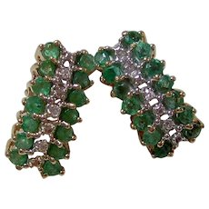 Natural Emerald & Diamond Wedding Day Birthstone Estate Earrings