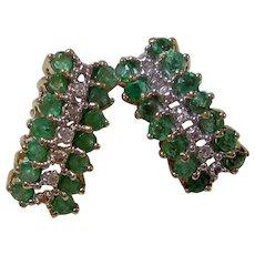 Natural Emerald & Diamond Wedding Day Birthstone Estate Earrings