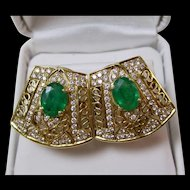 Natural Emerald Diamond Wedding Day Birthstone Anniversary Estate Earrings 18K Yellow Gold