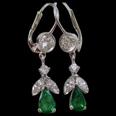 Natural Emerald & Diamond Dangle Wedding Day Birthstone Earrings 14K