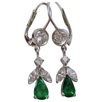 Natural Emerald & Diamond Estate Dangle Wedding Day Birthstone Earrings 14K