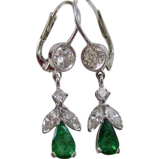 Natural Emerald & Diamond Estate Dangle Wedding Day Birthstone Earrings 14K