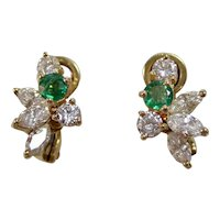 Estate Emerald & Diamond Wedding Birthstone Earrings 18K