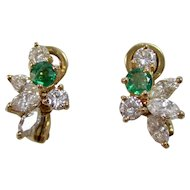 Estate Emerald & Diamond Wedding Birthstone Earrings 18K