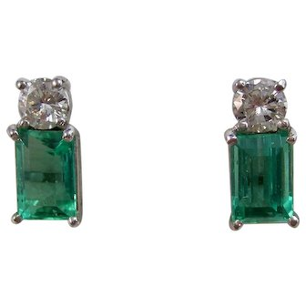 Vintage Estate Natural Emerald & Diamond Wedding Birthstone Earrings 14K