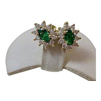 Vintage Estate Natural Emerald Diamond Stud Halo Earrings 18K Yellow Gold
