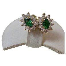 Vintage Estate Natural Emerald Diamond Stud Halo Earrings 18K Yellow Gold