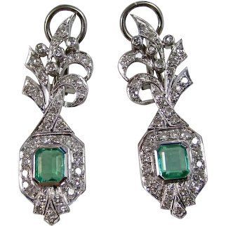 Vintage Estate Art Deco Natural Emerald & Diamond Wedding Day Anniversary Birthstone Earrings 14K