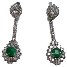 Vintage Estate Wedding Day Natural Emerald Diamond Earrings 18K