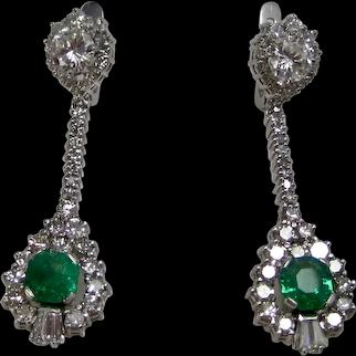 Vintage Estate Wedding Day Natural Emerald Diamond Earrings 18K