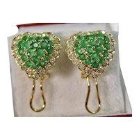 Vintage Estate Emerald & Diamond Wedding Day Earrings 14K
