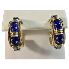 Estate Hidalgo Enamel Gold Hoop Earrings 18K