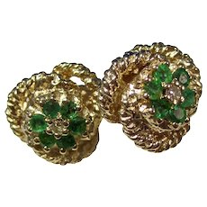 Vintage Estate Natural Emerald & Diamond Birthstone Wedding Day Anniversary Earrings 14K Gold