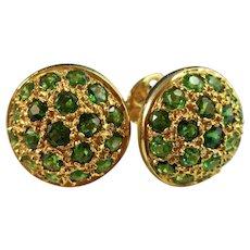Vintage Estate Natural Emerald Earrings 18K