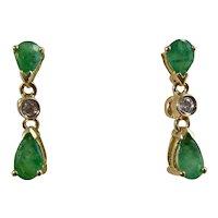 Vintage Estate Emerald & Diamond May Birthstone Earrings 14K