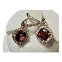 Vintage Estate Natural Garnet Diamond Halo Drop Earrings 14K