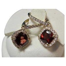 Vintage Estate Natural Garnet Diamond Halo Drop Earrings 14K