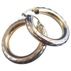 Estate Large Gold Hoop Earrings 14K