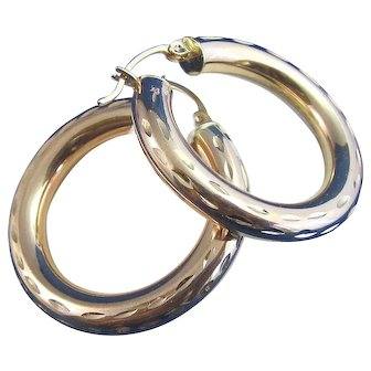 Estate Large Gold Hoop Earrings 14K