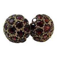 Vintage Estate Art Deco Natural Almandine Garnet Earrings