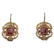Edwardian Natural Almandine Garnets & Old Mine Cut Diamond Wedding Earrings 14K