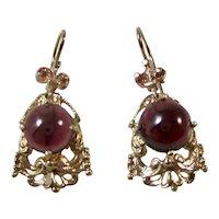 Vintage Estate 1950's Garnet Drop Earrings 14K