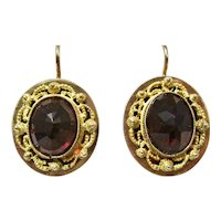 Antique Victorian Etruscan Revival Almandine Garnet Earrings 18K