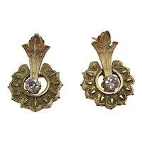 Vintage Estate Diamond Drop Earrings 14K