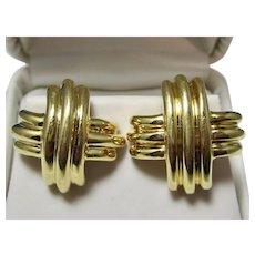 Vintage Estate Tiffany X Criss Cross Earrings 18K Gold