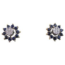Natural Sapphire Jackets & Diamond Estate Wedding Birthstone Earrings 14K