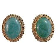 Huge Vintage 1950's Wedding Day Birthstone Anniversary Cabochon Nephrite Jade Earrings 14K