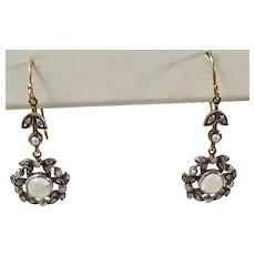 Vintage Estate Belle Epoque Moonstone Seed Pearl Diamond 14K & Silver Dangle Earrings