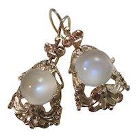 Vintage Estate 1950's Moonstone Earrings 14K