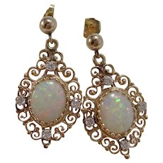 Vintage 1950's Natural Opal & Diamond Wedding Day Anniversary Dangle Earrings 14K