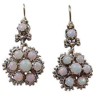 Vintage Mid-Century Opal Dangle Wedding Birthstone Earrings 14K