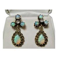 Vintage Estate Art Deco Opal & Diamond Earrings 14K