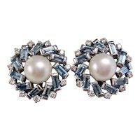 Vintage Estate 1960's Aquamarine & Cultured Pearl Earrings 18K White Gold