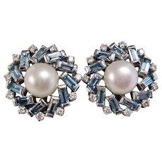 Vintage Estate 1960's Wedding Day Birthstone Aquamarine & Cultured Pearl Earrings 18K
