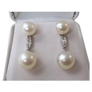 Cultured Pearl & Diamond Estate Dangle Wedding Engagement Earrings 14K