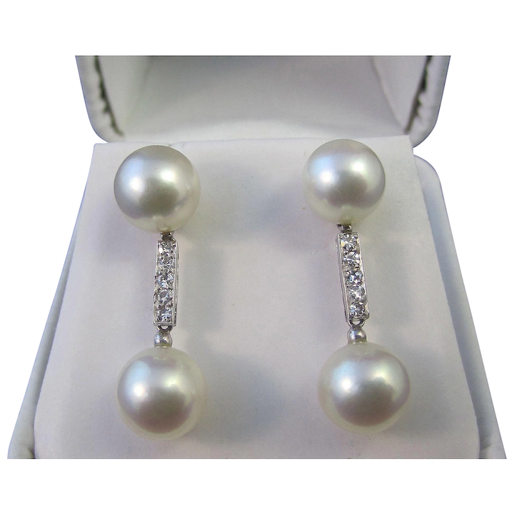 Diamond Cultured Pearl Dangle Wedding Day Anniversary Estate Earrings 14k
