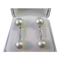 Diamond & Cultured Pearl Dangle Wedding Day Estate Earrings 14K